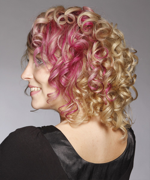 Medium Curly Formal Hairstyle with Side Swept Bangs - Light Blonde (Strawberry) Hair Color - side on view