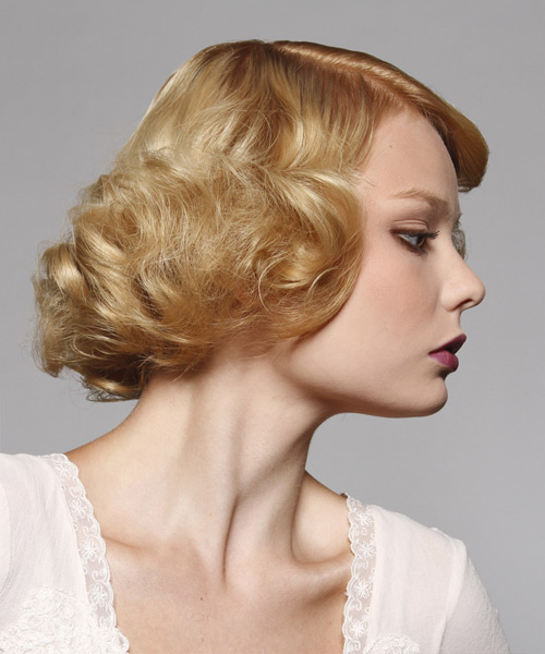 Short Wavy Formal Bob Hairstyle - Light Blonde (Golden) Hair Color - side on view