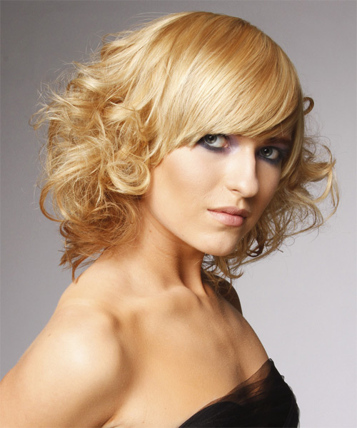 Medium Curly Formal  with Side Swept Bangs - Light Blonde - side on view