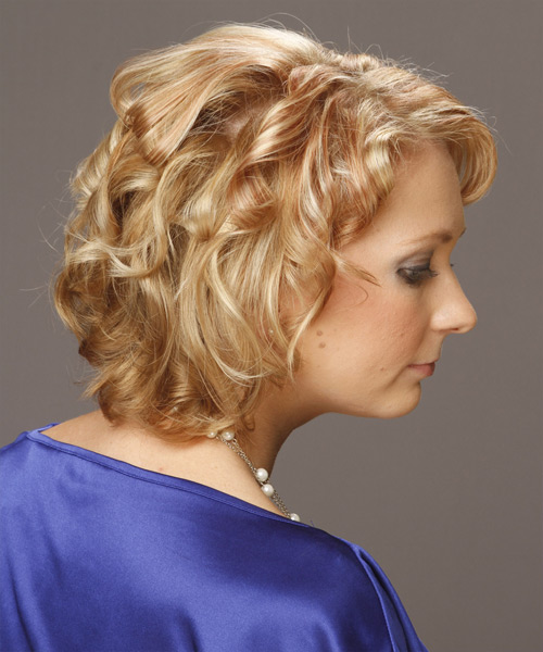 Short Curly Formal Hairstyle (Golden) - side on view