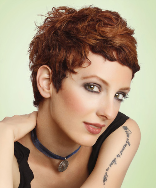 Short Straight Casual Pixie Hairstyle - Medium Brunette (Auburn) Hair Color - side on view