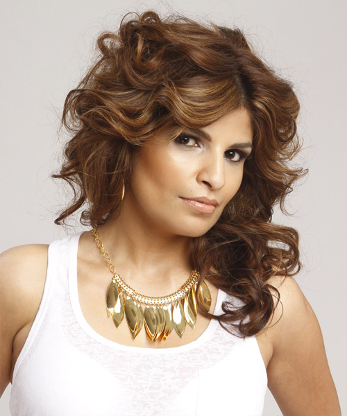 Long Curly Formal Hairstyle - Medium Brunette (Chestnut) - side view 2