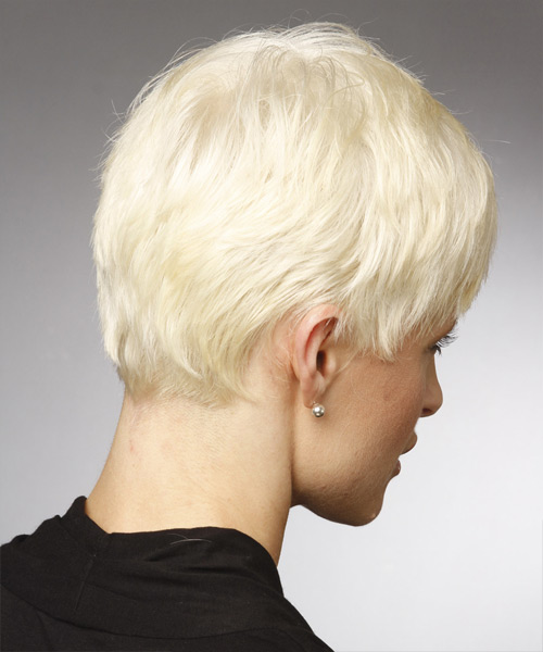Short Straight Casual Hairstyle - Light Blonde - side view 2