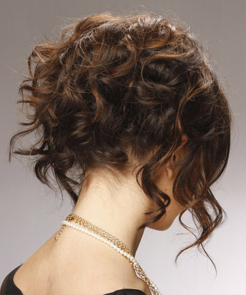 Curly Formal Updo Hairstyle - Dark Brunette (Chocolate) Hair Color - side on view