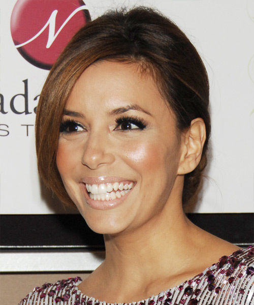 Eva Longoria Parker Formal Straight Updo Hairstyle - side view 2