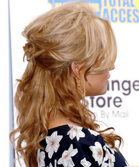 Jessica Simpson Half Up Long Curly Casual  - side on view