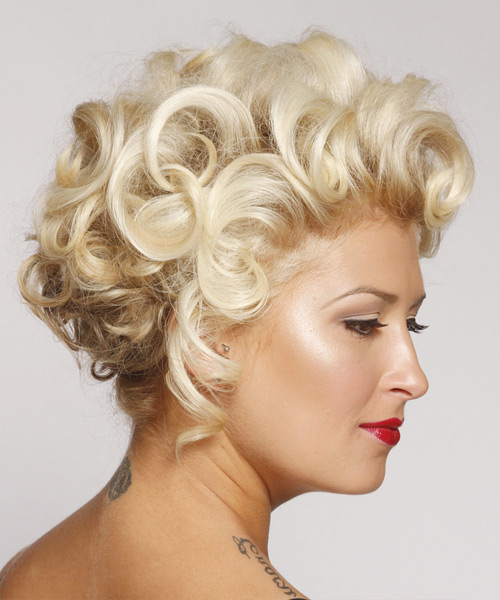 Curly Formal Updo Hairstyle - Light Blonde (Platinum) Hair Color - side on view