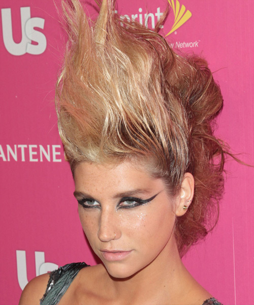 Kesha Alternative Wavy Updo Hairstyle - side view 2