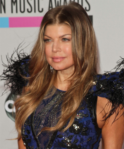 Fergie Long Wavy Hairstyle - Light Brunette (Copper) - side view