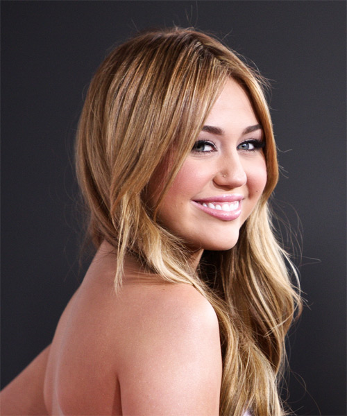 Miley Cyrus Long Straight Casual Hairstyle - side on view