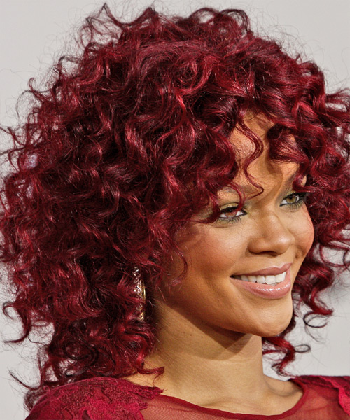 Rihanna Medium Curly Hairstyle - Medium Red - side view 2