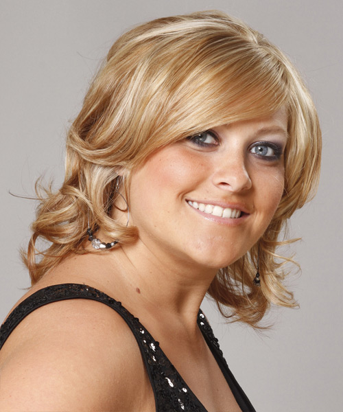 Short Wavy Formal  with Side Swept Bangs - Medium Blonde (Golden) - side on view