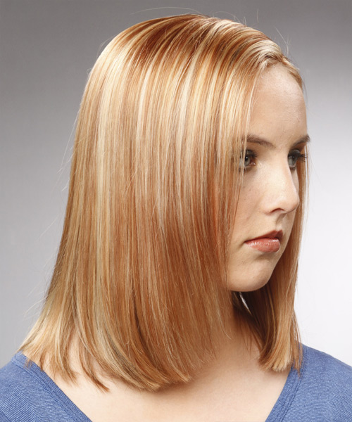 Medium Straight Formal Bob Hairstyle - Light Blonde (Copper) Hair Color - side on view