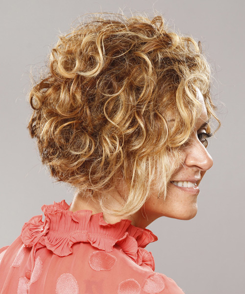 Short Curly Casual Hairstyle - Dark Blonde Hair Color - side on view
