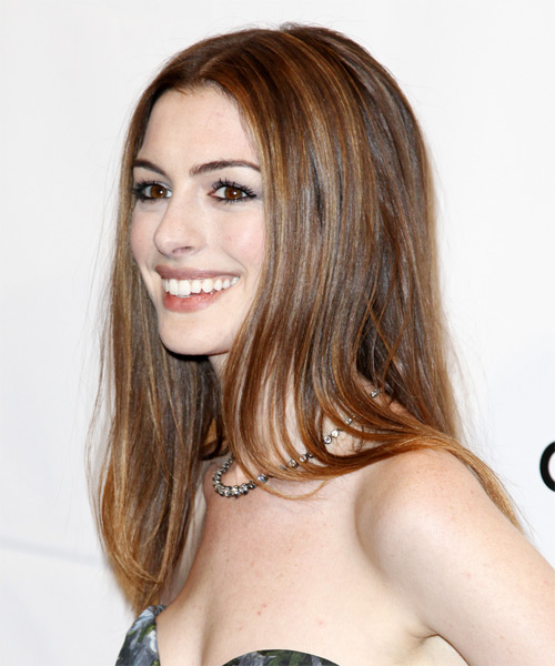Anne Hathaway Long Straight Hairstyle - Medium Brunette (Chestnut) - side view