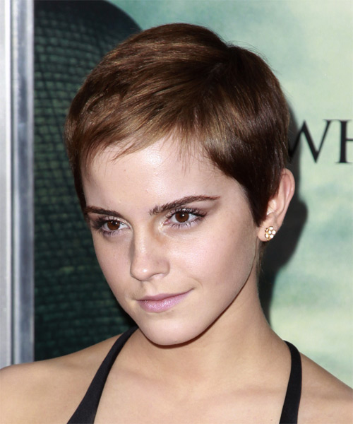 Emma Watson Short Straight Casual Pixie Hairstyle - side on view