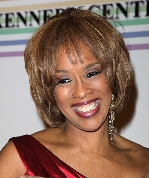 Gayle King Medium Straight Formal Hairstyle - side on view