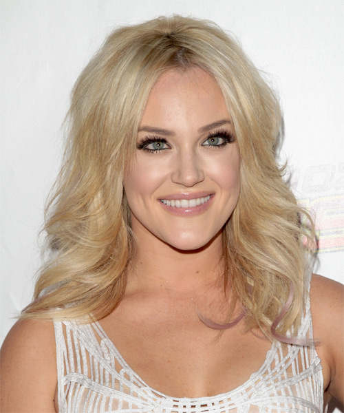 Lacey Schwimmer Long Wavy Casual Hairstyle - Light Blonde Hair Color - side on view