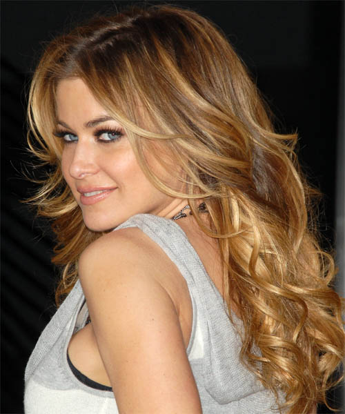 Carmen Electra Long Wavy Formal Hairstyle - Medium Blonde (Honey) Hair Color - side on view