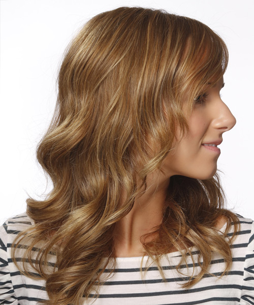 Long Wavy Casual Hairstyle with Side Swept Bangs (Caramel) - side on view