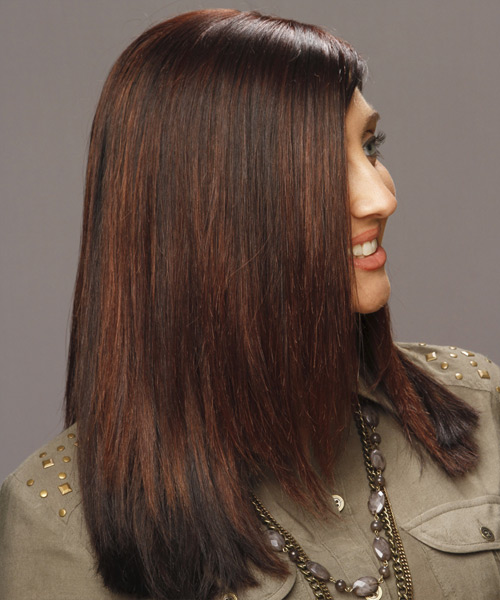 Long Straight Formal Hairstyle - Dark Brunette (Mahogany) - side view 2