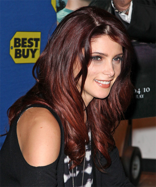 Ashley Greene Long Wavy Casual Hairstyle - Dark Red - side view
