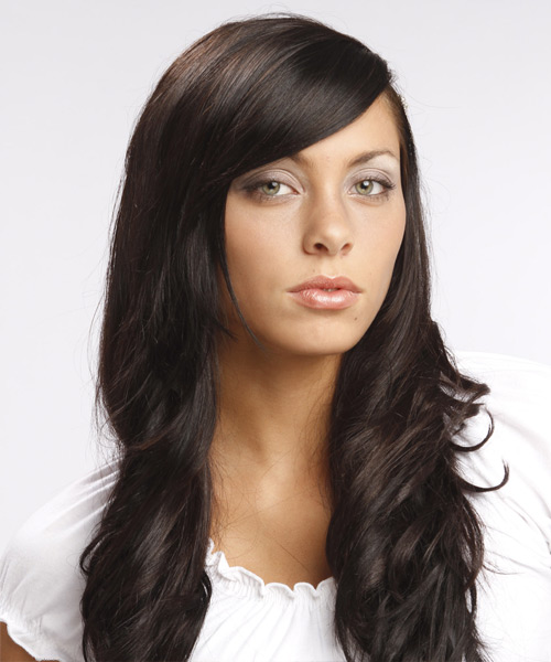 Long Straight Formal Hairstyle - Dark Brunette (Mocha) Hair Color - side on view