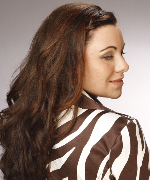 Long Wavy Formal Hairstyle - Dark Brunette - side view 2