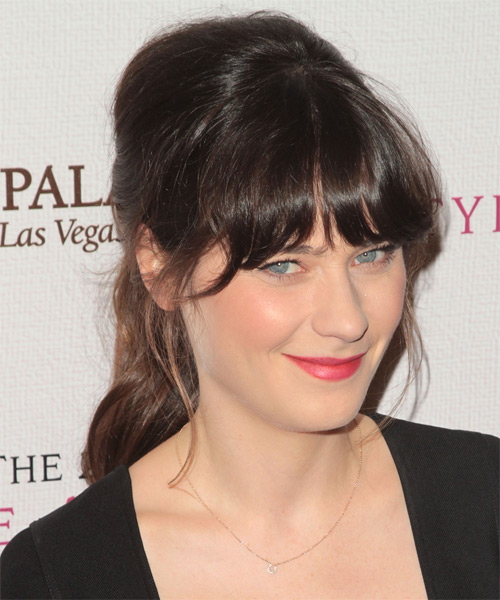 Zooey Deschanel - Casual Updo Long Straight Hairstyle - side view
