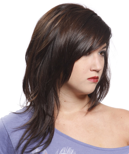 Long Straight Casual Hairstyle - side on view