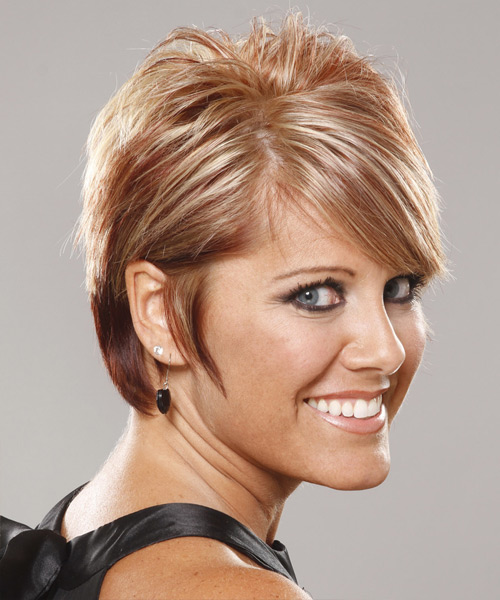 Short Straight Formal Hairstyle - Light Blonde (Copper) Hair Color - side on view