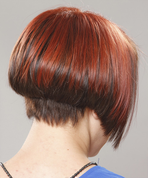 Short Straight Formal Bob Hairstyle with Side Swept Bangs - Dark Red Hair Color - side on view