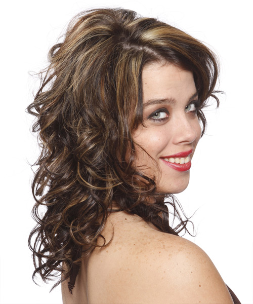 Long Curly Formal Hairstyle - Dark Brunette - side view 2