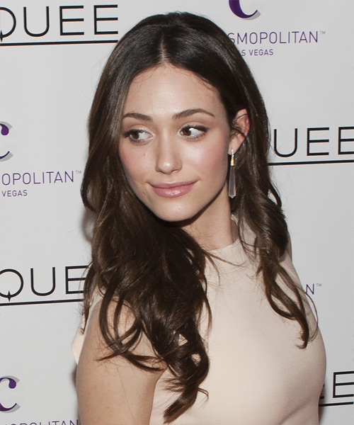 Emmy Rossum Long Wavy Hairstyle - Dark Brunette - side view