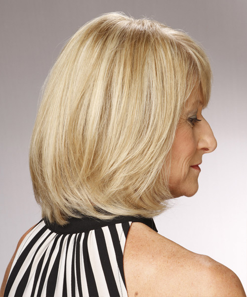 Medium Straight Formal Bob Hairstyle with Side Swept Bangs - Light Blonde (Champagne) Hair Color - side on view