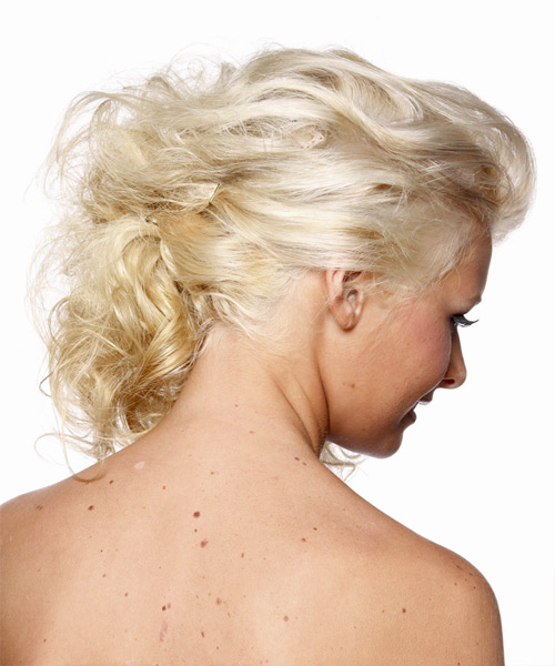Long Curly Formal Hairstyle - Light Blonde (Platinum) Hair Color - side on view