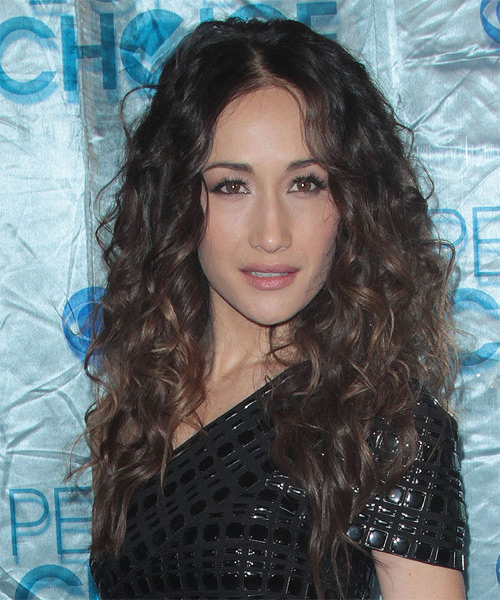 Maggie Q Long Curly Casual  - side on view