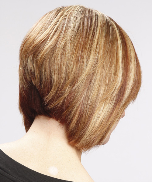 Medium Straight Casual Bob with Side Swept Bangs - Light Brunette (Caramel) - side on view