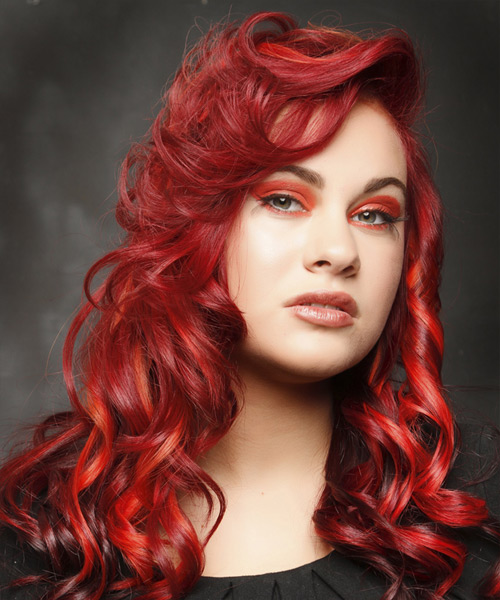Long Curly Alternative Hairstyle - Medium Red (Bright) Hair Color - side on view