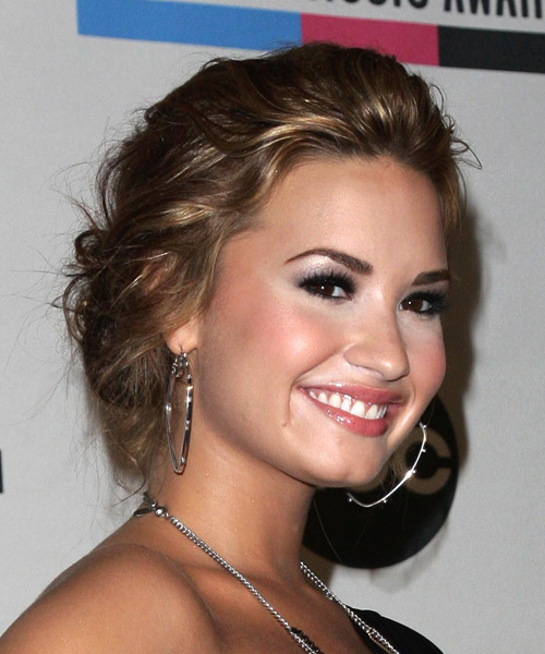 Demi Lovato Formal Curly Updo Hairstyle - side view