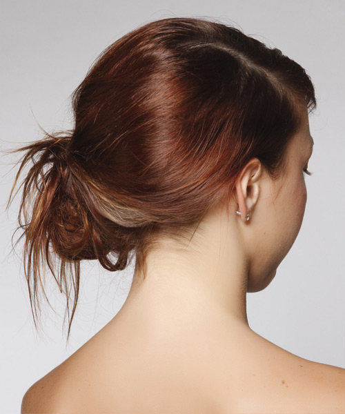 Casual Straight Updo Hairstyle - Dark Red - side view 2