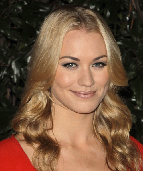 Yvonne Strahovski Long Wavy Casual Hairstyle - side on view