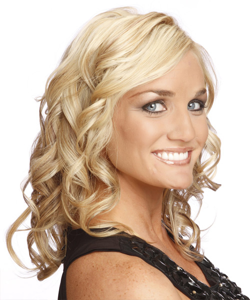 Long Curly Formal Hairstyle - Light Blonde - side view 2