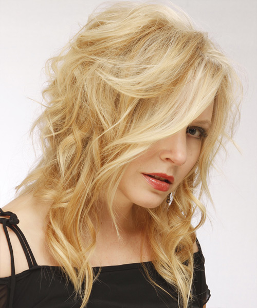 Long Wavy Casual Hairstyle - Light Blonde - side view 2