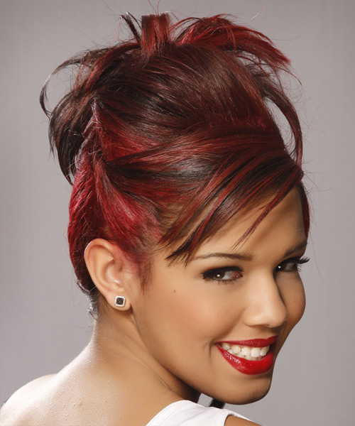 Formal Straight Updo Hairstyle - Medium Red - side view 2