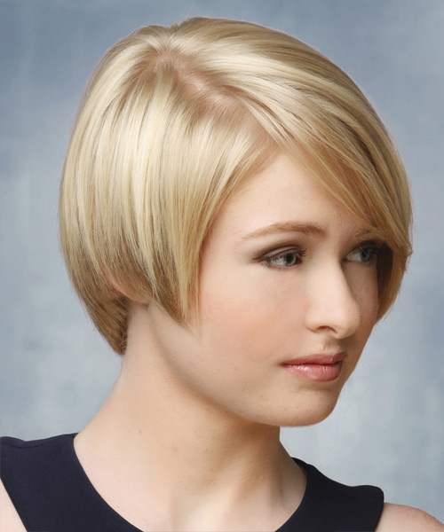 Short Straight Formal Hairstyle - Light Blonde Hair Color - side on view