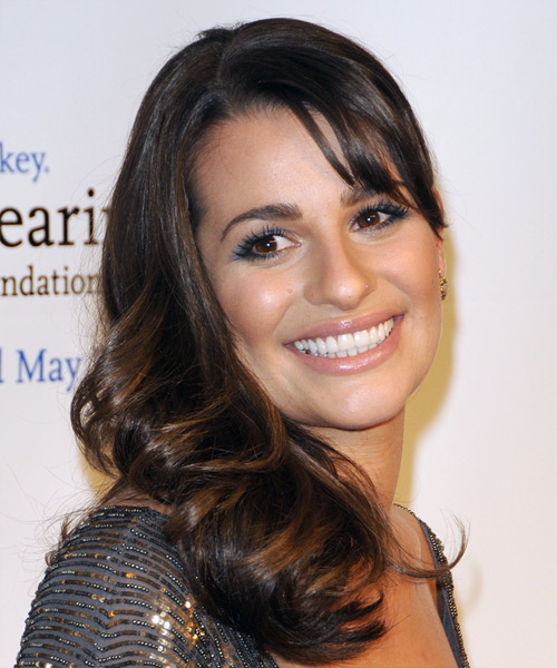 Lea Michele Long Wavy Hairstyle - Medium Brunette - side view 2