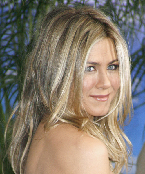 Jennifer Aniston Long Straight Casual Hairstyle - Medium Blonde (Champagne) Hair Color - side on view
