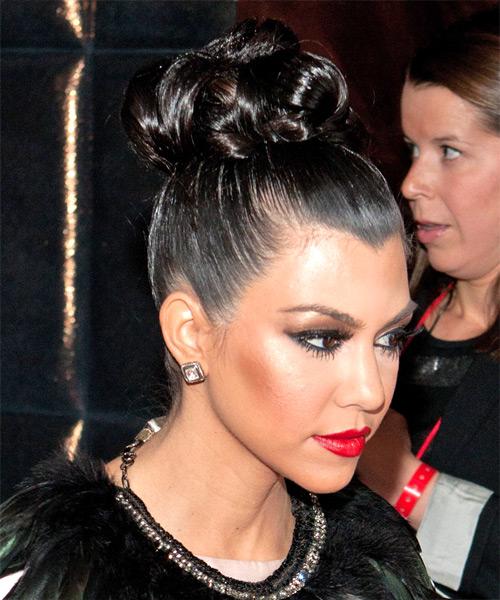 Kourtney Kardashian Curly Formal Updo Hairstyle - side on view