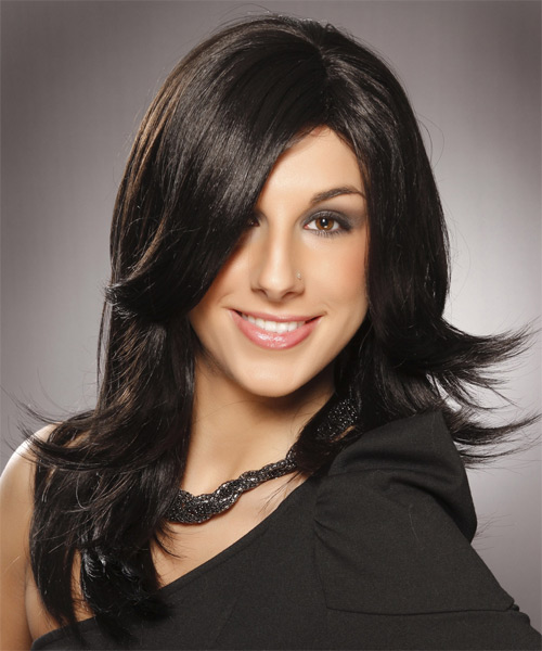Long Straight Formal Hairstyle - Black - side view 2
